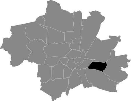 Black location map of the Münchner Berg am Laim borough (stadtbezirk) inside gray map of Munich, Germany