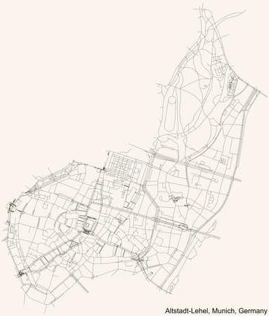 Black simple detailed street roads map on vintage beige background of the quarter Altstadt-Lehel borough (Stadtbezirk) of Munich, Germany