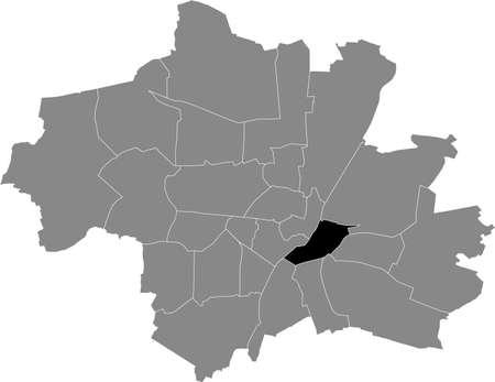 Black location map of the Münchner Au-Haidhausen borough (stadtbezirk) inside gray map of Munich, Germany