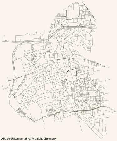 Black simple detailed street roads map on vintage beige background of the quarter Allach-Untermenzing borough (Stadtbezirk) of Munich, Germany 向量圖像