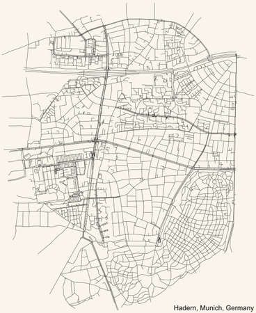 Black simple detailed street roads map on vintage beige background of the quarter Hadern borough (Stadtbezirk) of Munich, Germany