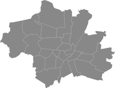Simple gray vector map with white borders of boroughs (Stadtbezirke) of Munich, Germany 向量圖像