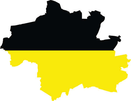Simple vector administrative map inside flag of Munich, Germany