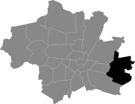 Black location map of the Münchner Trudering-Riem borough (stadtbezirk) inside gray map of Munich, Germany