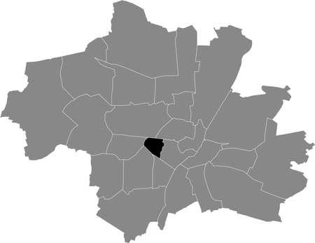 Black location map of the Münchner Schwanthalerhöhe borough (stadtbezirk) inside gray map of Munich, Germany 向量圖像