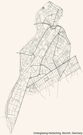 Black simple detailed street roads map on vintage beige background of the quarter Untergiesing-Harlaching borough (Stadtbezirk) of Munich, Germany 向量圖像