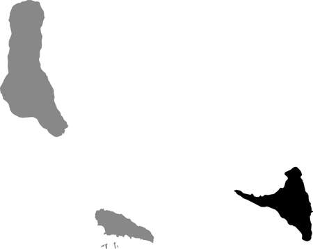 Black location map of the Comoran Ndzuani (Anjouan) island inside gray map of the Union of the Comoros 向量圖像