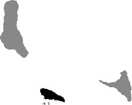 Black location map of the Comoran Mwali (Mohéli) island inside gray map of the Union of the Comoros