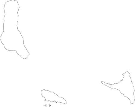 White vector map of the Union of the Comoros with black borders of its islands 向量圖像