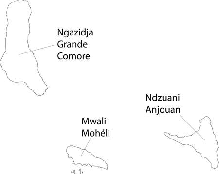 White vector map of the Union of the Comoros with black borders and names of its islands