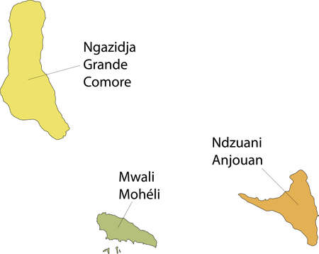 Pastel vector map of the Union of the Comoros with black borders and names of its islands 向量圖像