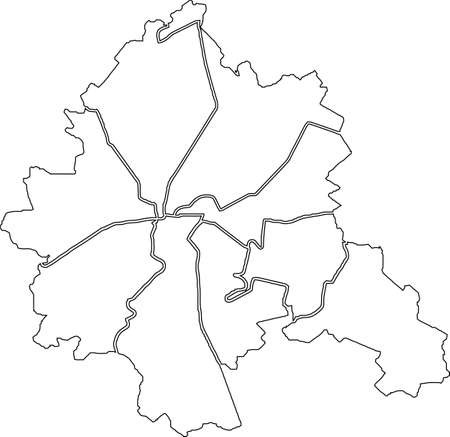 Simple white vector map with black borders of districts (raions) of Kharkiv, Ukraine 向量圖像