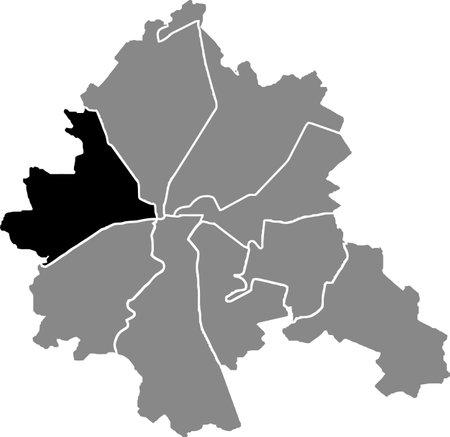Black location map of the Kharkovian Kholodnohirskyi district (raion) of Kharkiv, Ukraine