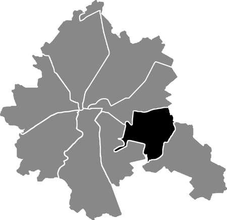 Black location map of the Kharkovian Nemyshlianskyi district (raion) of Kharkiv, Ukraine 向量圖像