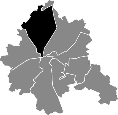 Black location map of the Kharkovian Shevchenkivskyi district (raion) of Kharkiv, Ukraine 向量圖像