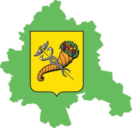 Simple vector administrative map inside flag of Kharkiv, Ukraine