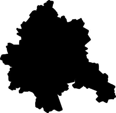Simple vector black administrative map of Kharkiv, Ukraine