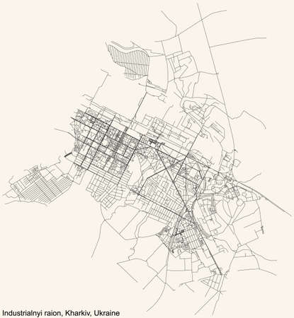 Black simple detailed street roads map on vintage beige background of the quarter Industrialnyi district (raion) of Kharkiv, Ukraine 向量圖像