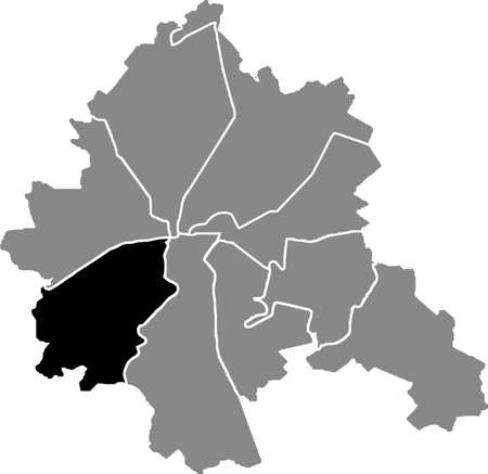 Black location map of the Kharkovian Novobavarskyi district (raion) of Kharkiv, Ukraine