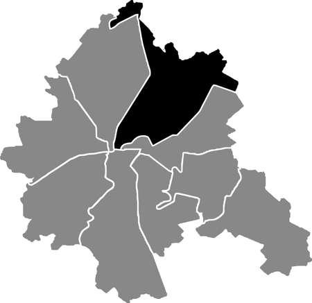Black location map of the Kharkovian Kyivskyi district (raion) of Kharkiv, Ukraine