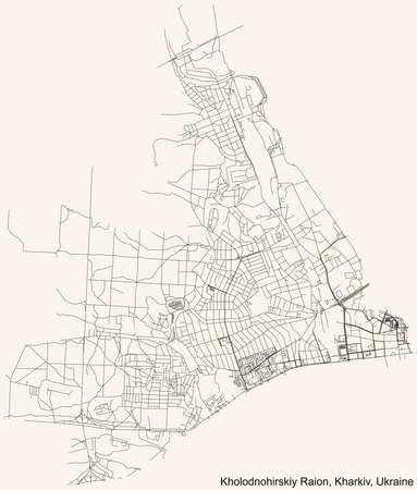 Black simple detailed street roads map on vintage beige background of the quarter Kholodnohirskyi district (raion) of Kharkiv, Ukraine 向量圖像