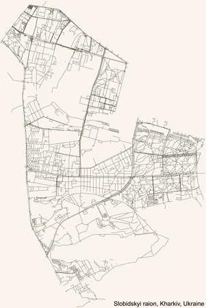 Black simple detailed street roads map on vintage beige background of the quarter Slobidskyi district (raion) of Kharkiv, Ukraine