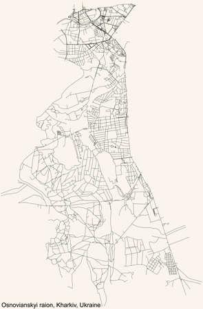 Black simple detailed street roads map on vintage beige background of the quarter Osnovianskyi district (raion) of Kharkiv, Ukraine