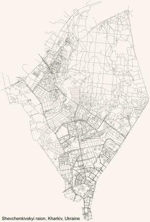 Black simple detailed street roads map on vintage beige background of the quarter Shevchenkivskyi district (raion) of Kharkiv, Ukraine 向量圖像
