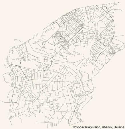 Black simple detailed street roads map on vintage beige background of the quarter Novobavarskyi district (raion) of Kharkiv, Ukraine