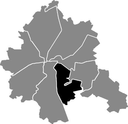 Black location map of the Kharkovian Slobidskyi district (raion) of Kharkiv, Ukraine 向量圖像