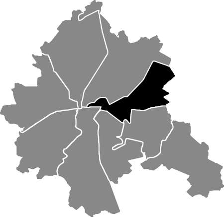 Black location map of the Kharkovian Moskovskyi district (raion) of Kharkiv, Ukraine 向量圖像