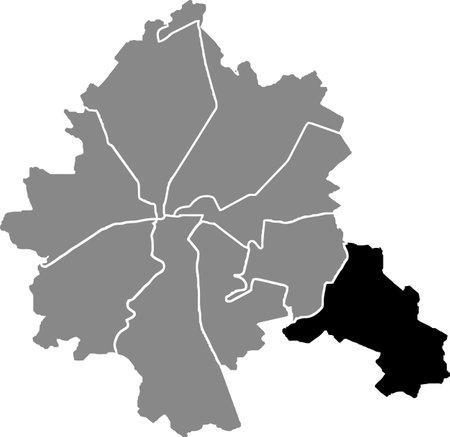 Black location map of the Kharkovian Industrialnyi district (raion) of Kharkiv, Ukraine
