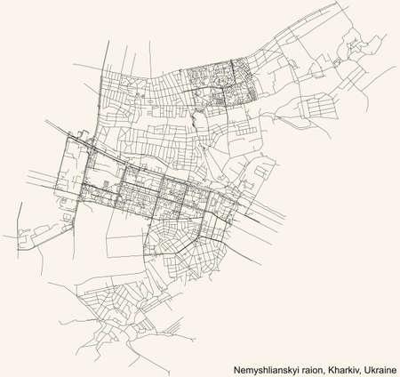 Black simple detailed street roads map on vintage beige background of the quarter Nemyshlianskyi district (raion) of Kharkiv, Ukraine 向量圖像