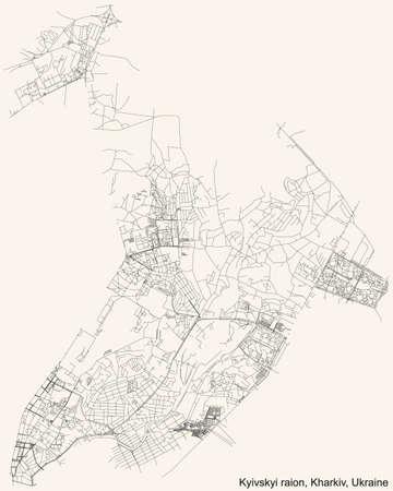 Black simple detailed street roads map on vintage beige background of the quarter Kyivskyi district (raion) of Kharkiv, Ukraine