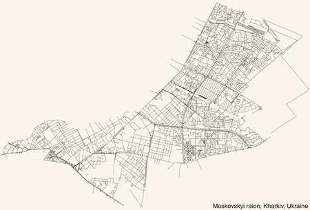 Black simple detailed street roads map on vintage beige background of the quarter Moskovskyi district (raion) of Kharkiv, Ukraine