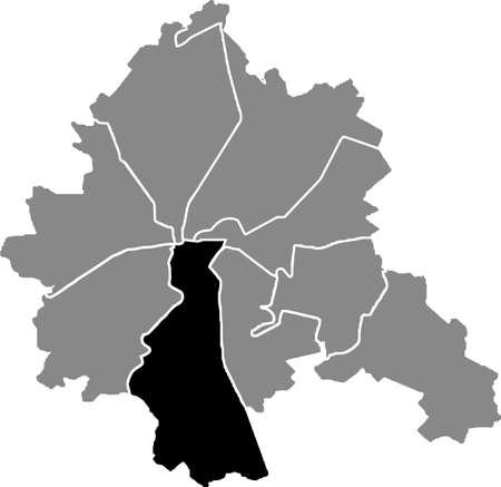 Black location map of the Kharkovian Osnovianskyi district (raion) of Kharkiv, Ukraine