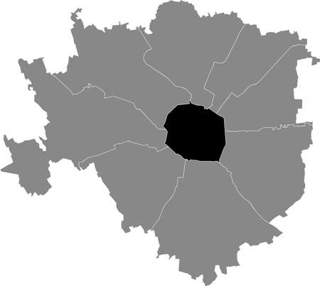Simple gray vector map with white borders of zones (municipi) of Milan, Italy 向量圖像