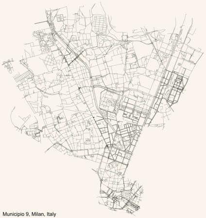 Black simple detailed street roads map on vintage beige background of the quarter Municipio 9 Zone of Milan, Italy (Porta Garibaldi, Niguarda) 向量圖像