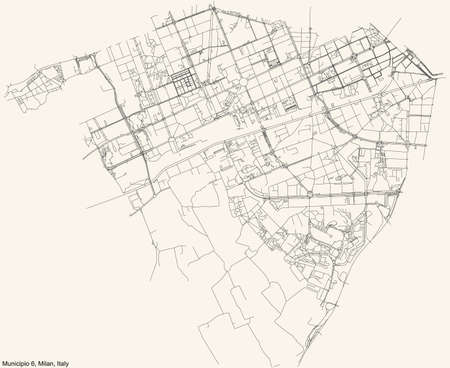 Black simple detailed street roads map on vintage beige background of the quarter Municipio 6 Zone of Milan, Italy (Barona, Lorenteggio) 向量圖像