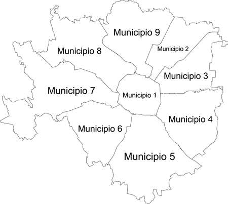 Simple white vector map with black borders and names of zones (municipi) of Milan, Italy 向量圖像