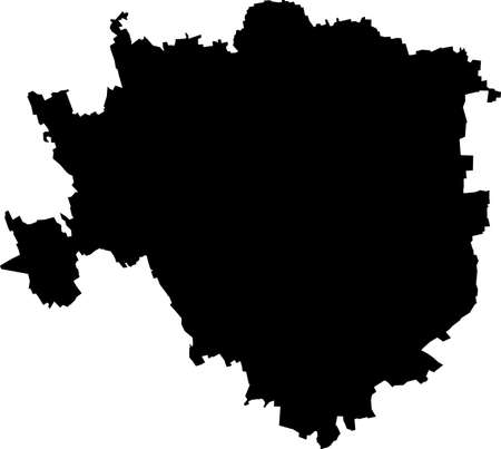 Simple vector black administrative map of Milan, Italy