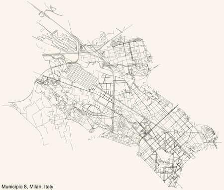 Black simple detailed street roads map on vintage beige background of the quarter Municipio 8 Zone of Milan, Italy (Fiera, Gallaratese, Quarto Oggiaro) 向量圖像