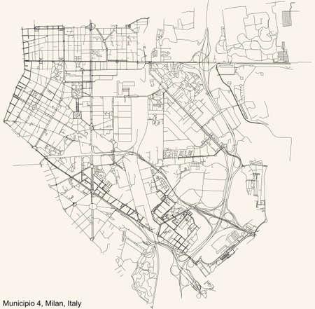 Black simple detailed street roads map on vintage beige background of the quarter Municipio 4 Zone of Milan, Italy (Porta Vittoria, Forlanini) 向量圖像
