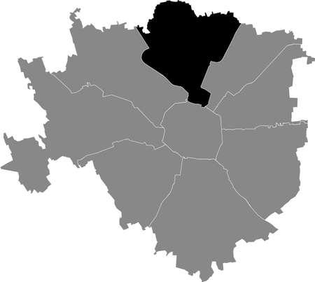 Black location map of the Milanese Municipio 9 Zone inside gray map of Milan, Italy (Porta Garibaldi, Niguarda)