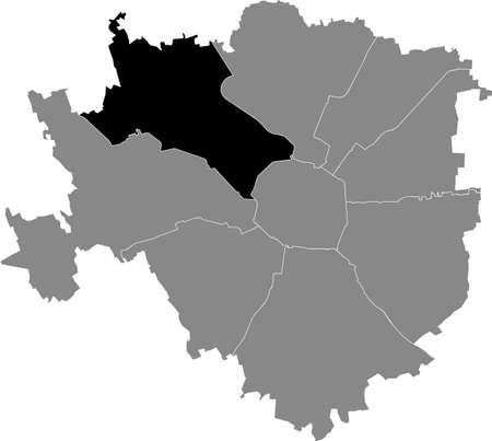 Black location map of the Milanese Municipio 8 Zone inside gray map of Milan, Italy (Fiera, Gallaratese, Quarto Oggiaro) 向量圖像
