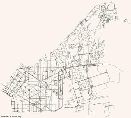 Black simple detailed street roads map on vintage beige background of the quarter Municipio 3 Zone of Milan, Italy (Città Studi, Lambrate, Porta Venezia)