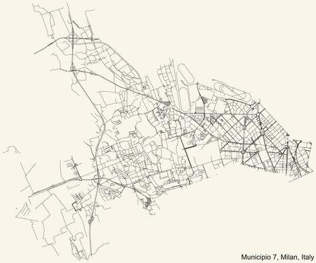 Black simple detailed street roads map on vintage beige background of the quarter Municipio 7 Zone of Milan, Italy (Baggio, De Angeli, San Siro) 向量圖像