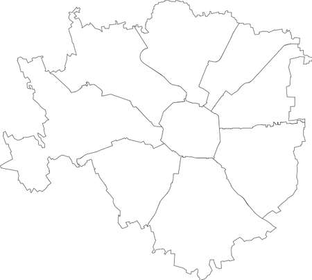 Simple white vector map with black borders of zones (municipi) of Milan, Italy