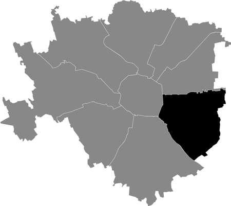 Black location map of the Milanese Municipio 4 Zone inside gray map of Milan, Italy (Porta Vittoria, Forlanini)
