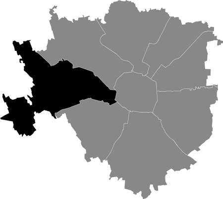 Black location map of the Milanese Municipio 1 Zone inside gray map of Milan, Italy (Baggio, De Angeli, San Siro) 向量圖像